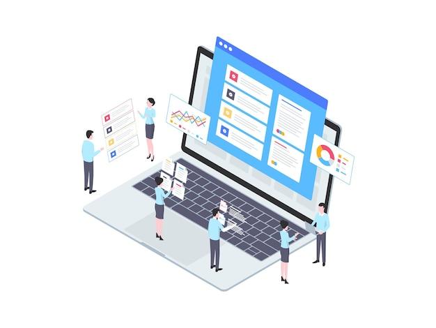 Illustrazione isometrica dell'indicatore di prestazioni chiave. adatto per app mobili, siti web, banner, diagrammi, infografiche e altre risorse grafiche.