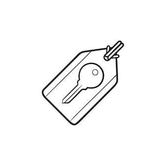Immagine chiave sull'icona di doodle di contorni disegnati a mano dell'etichetta. seo, marketing digitale e parole chiave, concetto di parole chiave seo