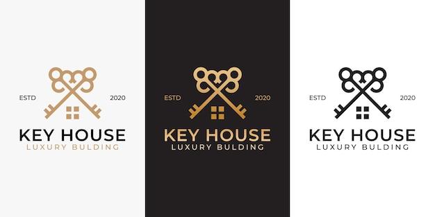 Progettazione di logo di costruzione di casa immobiliare chiave