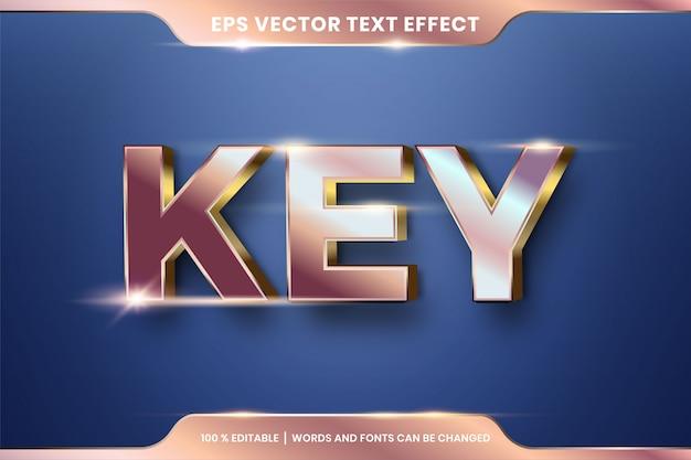 Parole chiave, concetto di colore rame e oro effetto testo modificabile