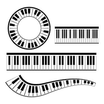 Disegno dell'illustrazione dello strumento musicale di vettore del pianoforte della tastiera