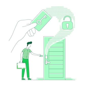 Illustrazione di concetto di linea sottile di tecnologia intelligente serratura della carta chiave uomo che apre la porta della camera d'albergo con chiave elettronica d personaggio dei cartoni animati per il web design idea creativa del sistema senza chiave