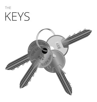 Un portachiavi con 4 chiavi in metallo realistico vettore chiave