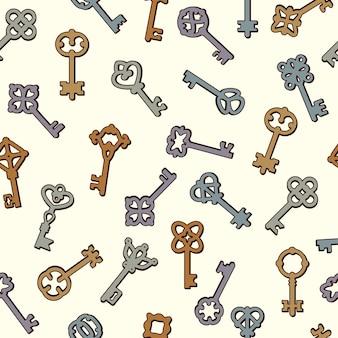 Modello di chiavi. simboli di sicurezza raccolta chiavi in stile vittoriano vettore seamless pattern