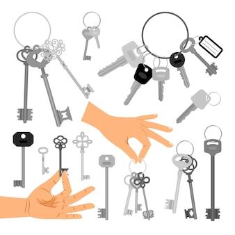 Chiavi con le mani isolate su fondo bianco. illustrazione vettoriale della chiave che tiene la mano
