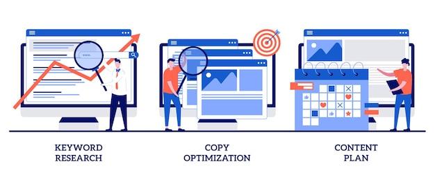 Ricerca di parole chiave, ottimizzazione della copia, concetto di piano dei contenuti con persone minuscole. set di servizi seo professionali. campagna web, motore di ricerca, social media planner.