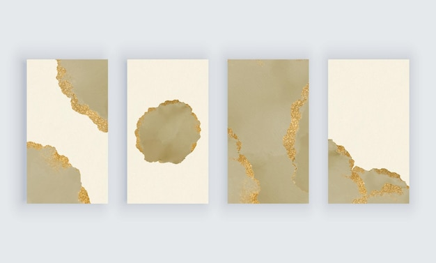 Acquerello kaki con sfondi glitter dorati per banner di storie di social media