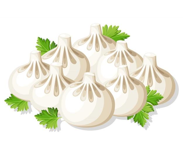 Gnocchi georgiani khinkali con illustrazione di erbe aromatiche sulla pagina del sito web di sfondo bianco e app mobile