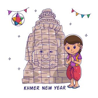Ragazze carine di capodanno khmer