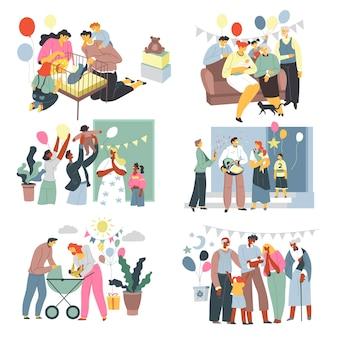 Festa di compleanno del bambino e vettore di festa