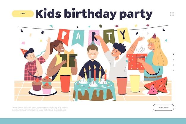 Il concetto di festa di compleanno per bambini della pagina di destinazione con il ragazzo celebra le vacanze con amici e compagni di classe. evento celebrativo per bambini con torta e decorazioni festive. cartoon piatto illustrazione vettoriale cartoon