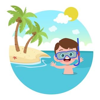 Ragazzo del bambino che gioca sull'illustrazione della spiaggia