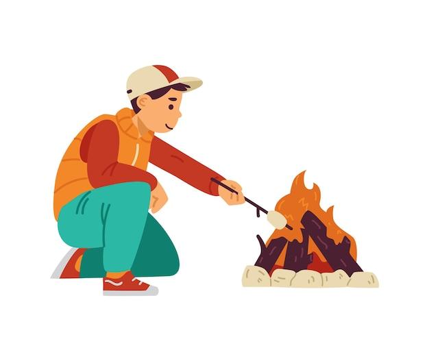 Kid boy arrosto di marshmallow al falò in campeggio un'illustrazione vettoriale