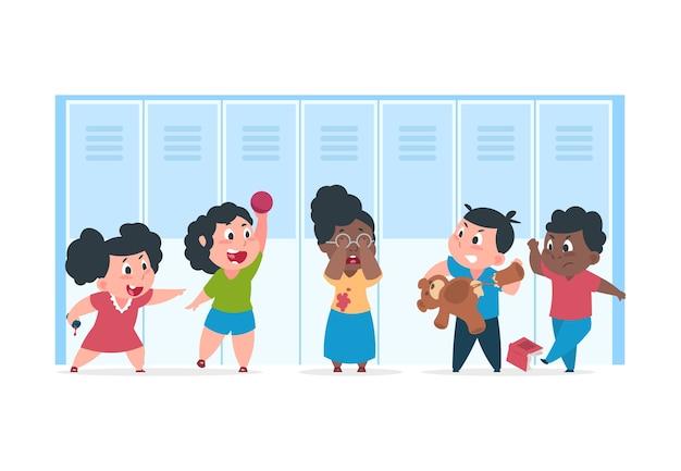 Bullismo dei bambini. bambino spaventato soffre di cattivi bambini arrabbiati, concetto di bullismo beffardo a scuola. confronto di personaggi dei cartoni animati adolescente