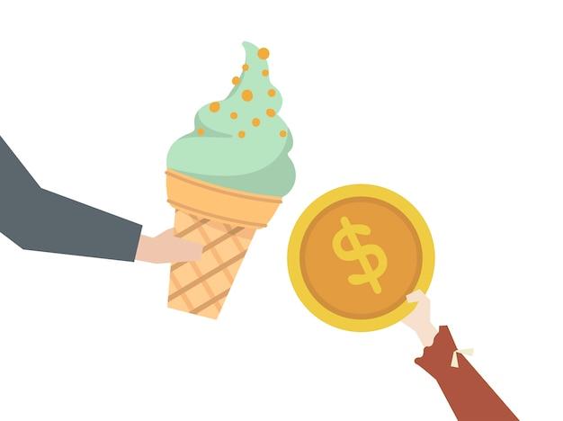 Ragazzino che compra un gelato