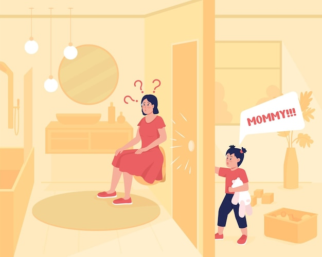 Il bambino richiede l'illustrazione di vettore di colore piatto di attenzione. madre in bagno mentre il bambino grida. lotte domestiche del genitore. personaggi dei cartoni animati 2d della famiglia con interni di casa sullo sfondo
