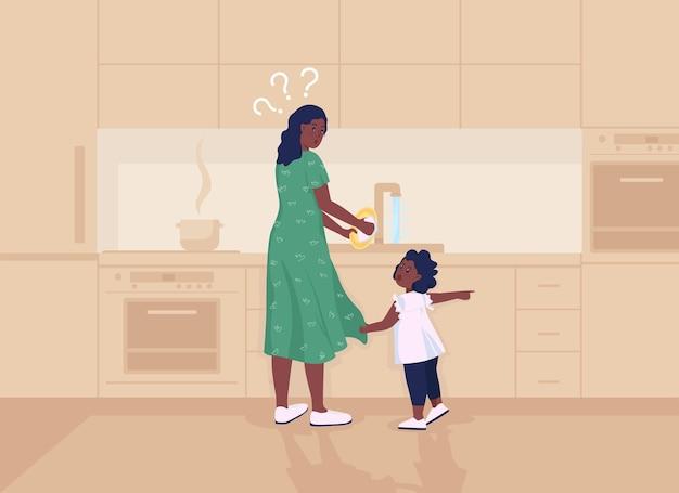 Il bambino distrae l'illustrazione di vettore di colore piatto della madre. mamma impegnata a fare le faccende domestiche. il bambino richiede l'attenzione del genitore. personaggi dei cartoni animati 2d della famiglia con l'interno della cucina sullo sfondo