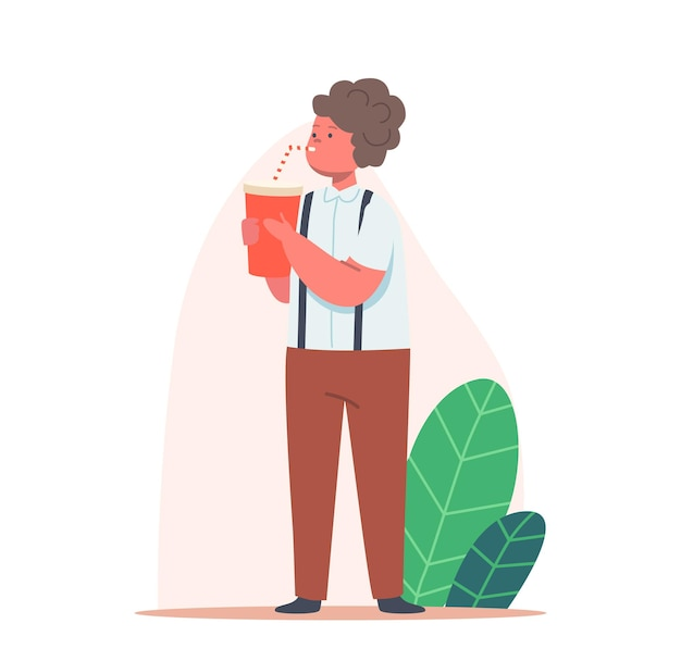 Kid bere acqua o soda. personaggio del ragazzino con tazza rossa e paglia che gode di acqua fresca o bevanda dolce. bevanda estiva rinfrescante, idratazione del corpo. cartoon persone illustrazione vettoriale