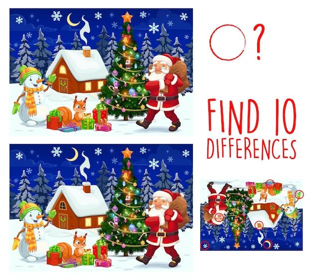 Il gioco per bambini trova dieci differenze di personaggi natalizi