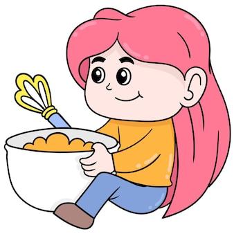 La ragazza del bambino sta impastando l'impasto della torta. scarabocchio icona kawaii.