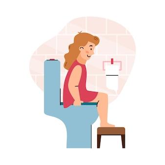 Ragazza del bambino che si siede sulla toilette in bagno un'illustrazione piana di vettore del fumetto