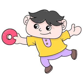Il bambino è felice di ricevere la sua ciambella dolce preferita, illustrazione vettoriale. scarabocchiare icona immagine kawaii.