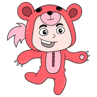 Il bambino indossa un costume da orso rosso, illustrazione vettoriale. scarabocchiare icona immagine kawaii.