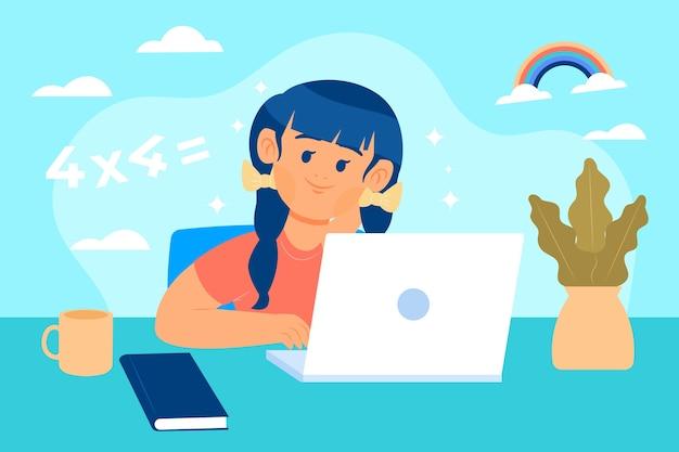 Imparare e seguire corsi online per bambini Vettore Premium