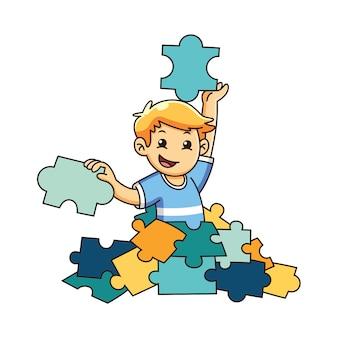 Bambino che gioca a puzzle con la faccia felice