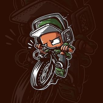 Bambino in sella alla bicicletta