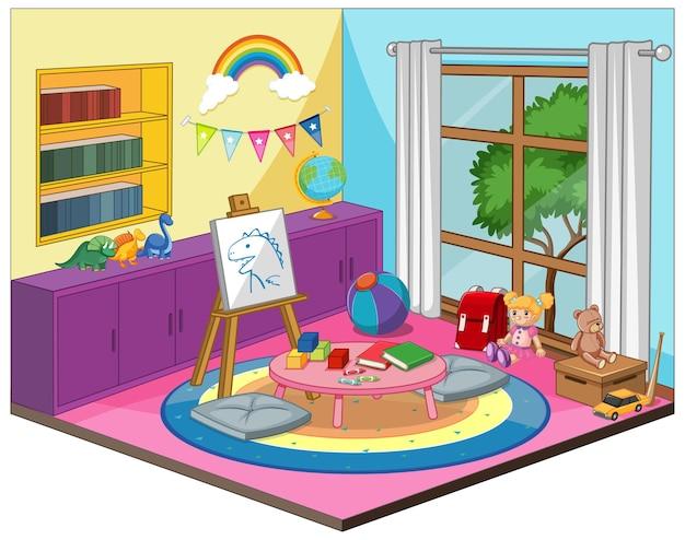 Interno della stanza della stanza del bambino o dell'asilo con elementi di mobili colorati