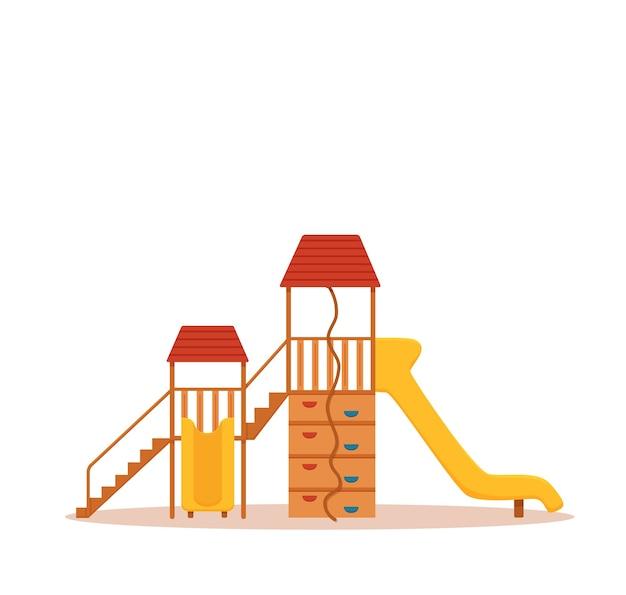 Illustrazione variopinta del fumetto del parco giochi per bambini. elementi di design per l'illustrazione dei bambini del parco cittadino: altalene, uno scivolo, una sabbiera.