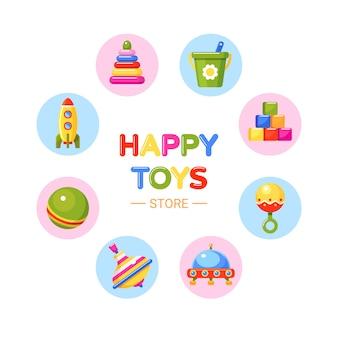 Negozio di giocattoli per bambini. palla, piramide, razzo, ufo, blocchi giocattolo, sonaglio, secchio e trottola. collezione per bambini piccoli