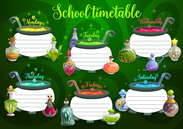 Orario scolastico per bambini con calderone, pozione magica