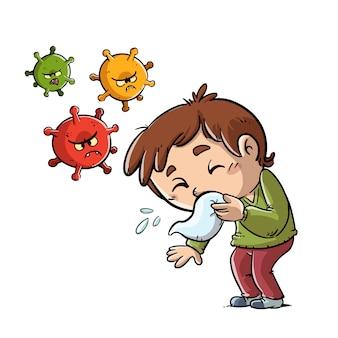 Bambino che starnutisce e diffonde virus