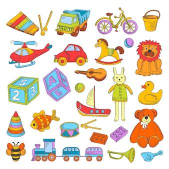 I giocattoli del bambino o giocattoli dei bambini vector la raccolta piana delle icone
