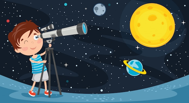 Bambino che usa il telescopio per la ricerca astronomica