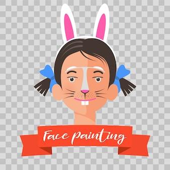 Capretto con illustrazione di pittura del viso di coniglio. fronte del bambino con trucco animale dipinto per la festa dei bambini