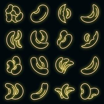 Set di icone di fagiolo nano. contorno set di icone vettoriali di fagioli rossi colore neon su nero Vettore Premium