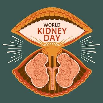 Rene sui gusci di vongole per l'illustrazione di vettore di concetto di giornata mondiale del rene