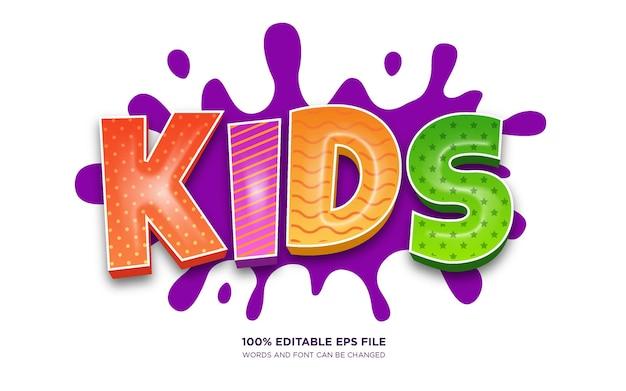 Effetto stile testo modificabile 3d per bambini