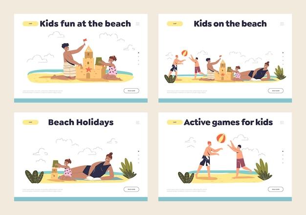 Attività per bambini sulle pagine di destinazione della spiaggia: bambini che giocano a pallavolo costruendo un castello di sabbia in vacanza