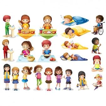 Raccolta attività per bambini Vettore Premium