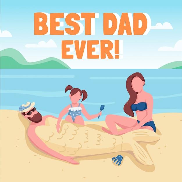 Post su social media per bambini e adulti in spiaggia. il miglior papà di sempre. modello di progettazione banner web. booster, layout dei contenuti con iscrizione.