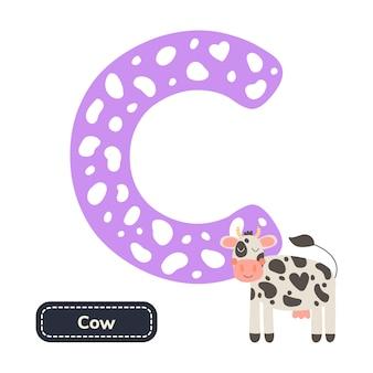 Alfabeto per bambini. lettera c. mucca simpatico cartone animato.