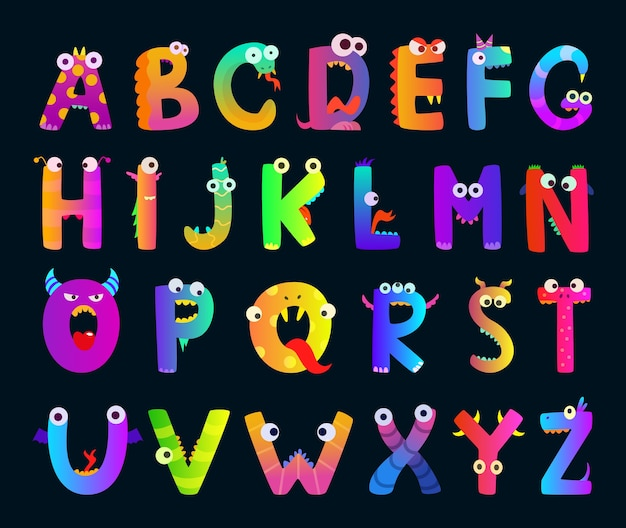 Alfabeto per bambini con lettere di mostri divertenti. simpatici personaggi. mostro del carattere di alfabeto, illustrazione di abc della lettera del fumetto divertente