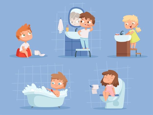 Bambini che fanno il bagno. igiene per i bambini puliscono i denti mattina routine lavaggio a mano la gente del fumetto di vettore