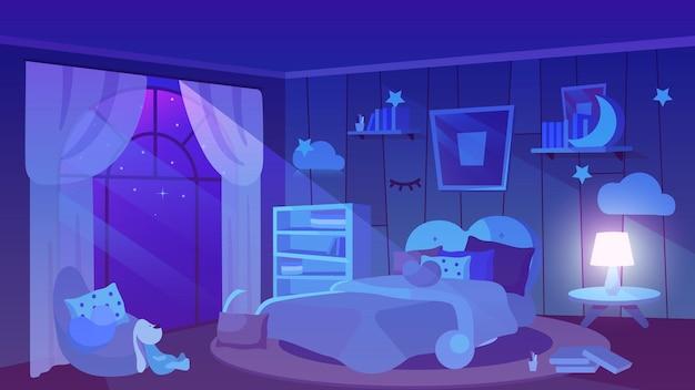 Camera da letto per bambini vista notturna piatta. peluche, libri e cuscini sul pavimento.
