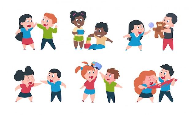 Comportamento dei bambini. il fratello e la sorella del fumetto combattono il gioco dei pasticci, personaggi felici della bambina sveglia.
