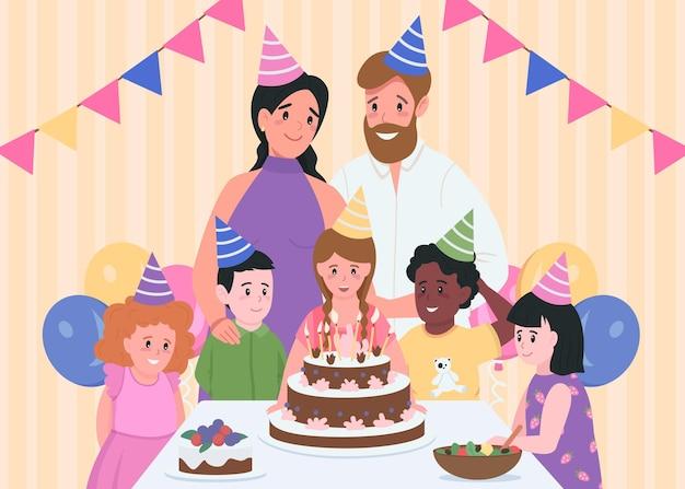 Compleanno per bambini al chiuso colore piatto. genitori in cappelli da festa. ragazza pronta a soffiare le candeline sulla torta. personaggi dei cartoni animati 2d di famiglia e amici con interni domestici